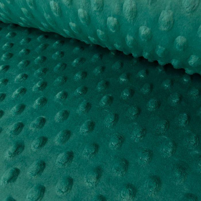 Tissu minky pois oeko-tex - émeraude x 10 cm
