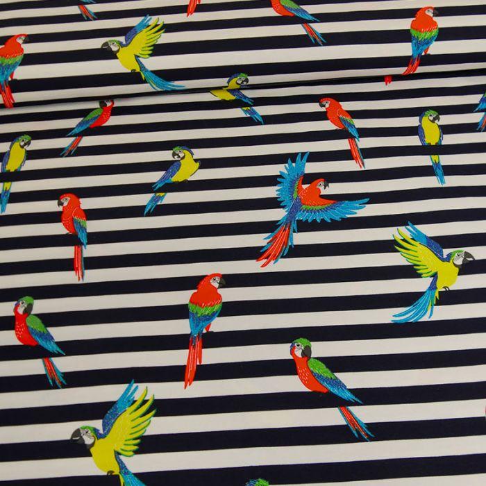 Tissu jersey rayures perroquets glitter - marine x 10 cm
