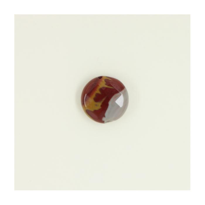 Jaspe rouge : Perle pastille ronde à facettes 14mm x1