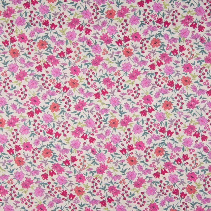 Tissu batiste coton fleurs roses rouges - blanc cassé x 10 cm
