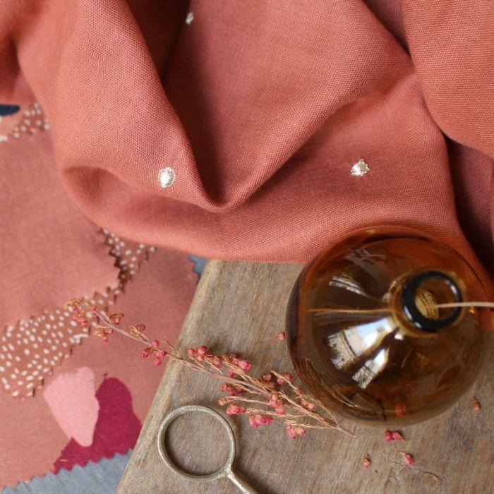 Tissu double gaze Stardust Chestnut - Atelier Brunette x 10 cm