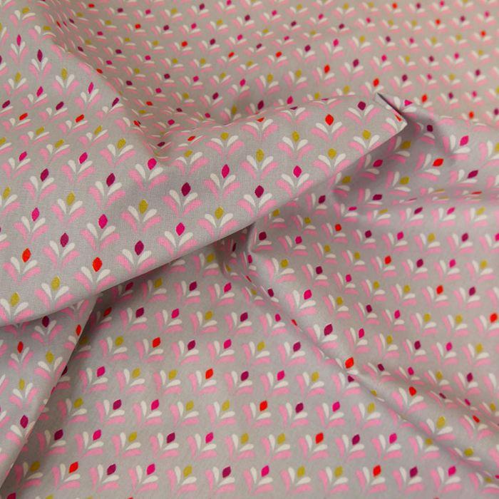 Tissu coton enduit tulipes - gris x 10 cm