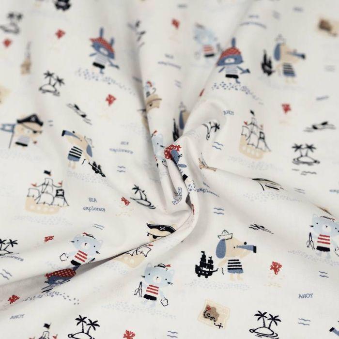 Tissu coton bio marins blanc - Poppy x 10 cm