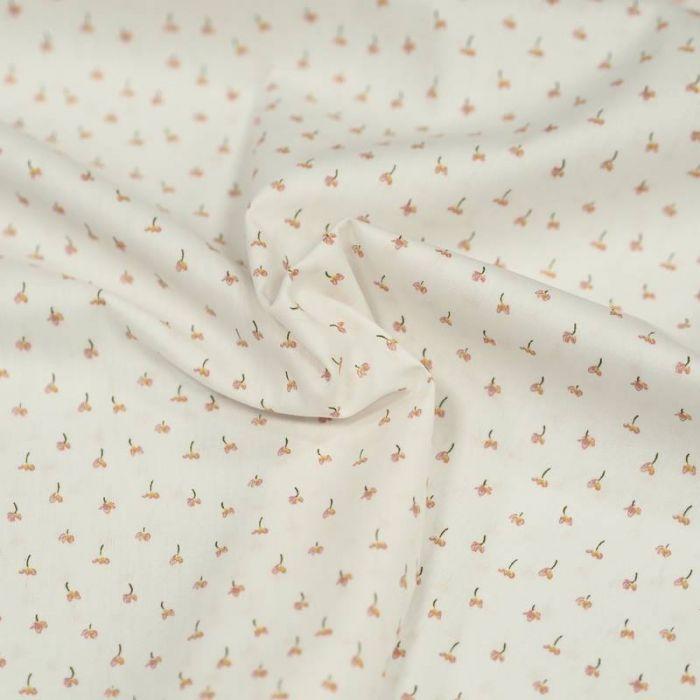 Tissu coton bio petites tulipes blanc - Poppy  x 10 cm