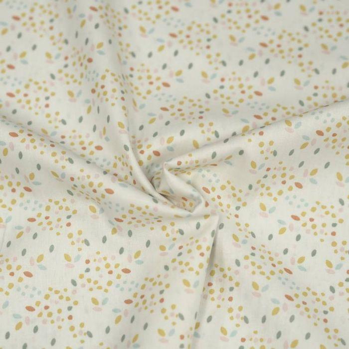 Tissu coton bio confettis multicolores blanc - Poppy  x 10 cm