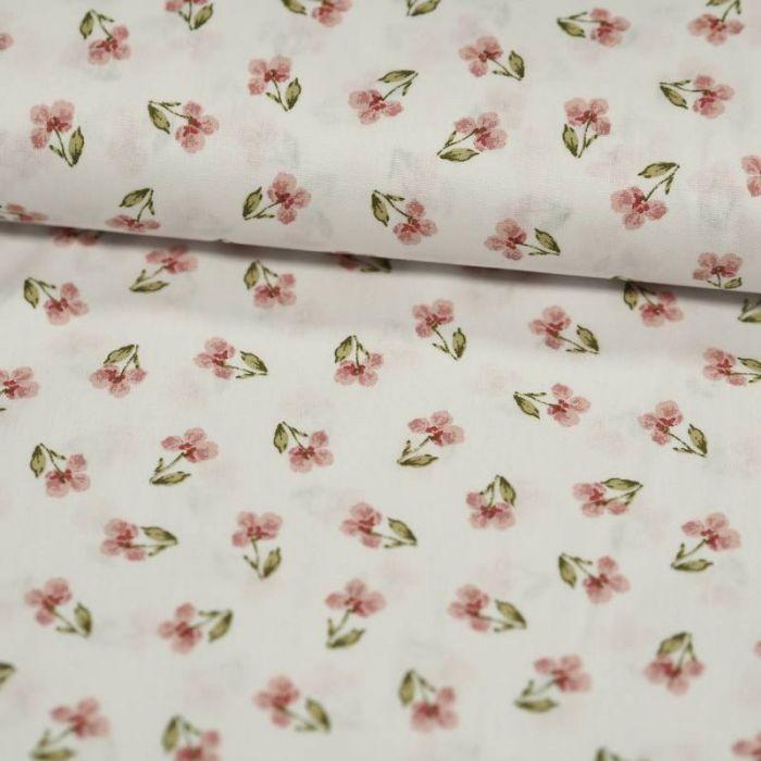 Tissu coton bio petites orchidées roses blanc - Poppy  x 10 cm