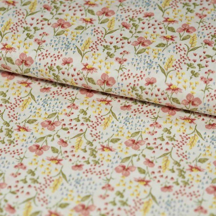 Tissu coton bio fleurs de prairie blanc - Poppy  x 10 cm