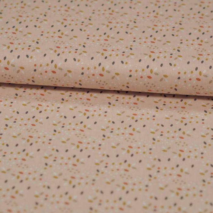 Tissu coton bio confettis multicolores rose - Poppy  x 10 cm