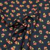 Tissu coton bio petites orchidées roses noir - Poppy  x 10 cm