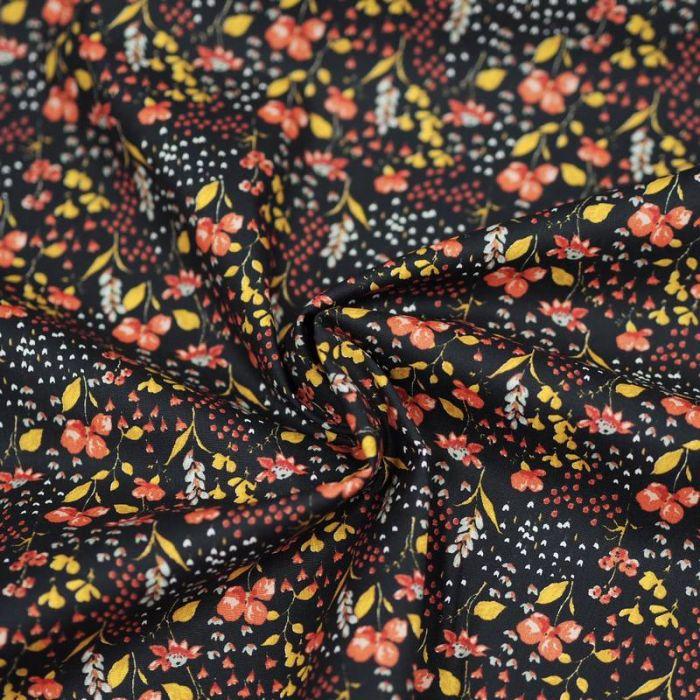 Tissu coton bio fleurs de prairie noir - Poppy  x 10 cm