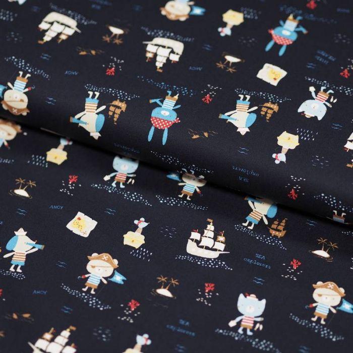 Tissu coton bio marins bleu marine - Poppy x 10 cm
