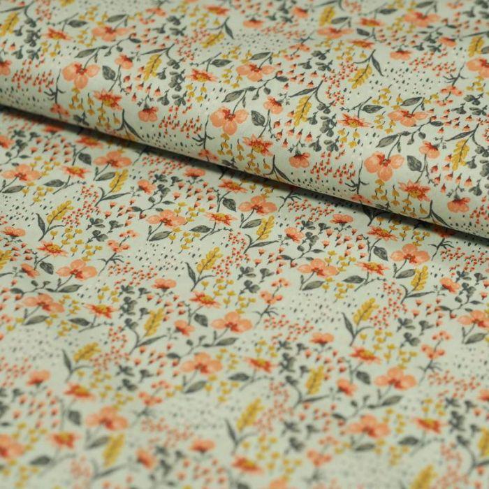 Tissu coton bio fleurs de prairie mint - Poppy  x 10 cm