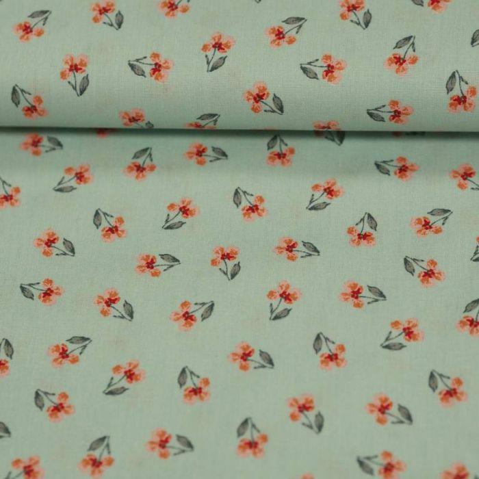 Tissu coton bio petites orchidées roses mint - Poppy  x 10 cm