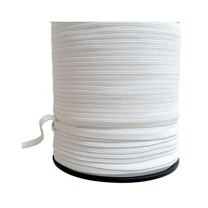 Élastique côtelé blanc 8 mm spécial masques x 5 m