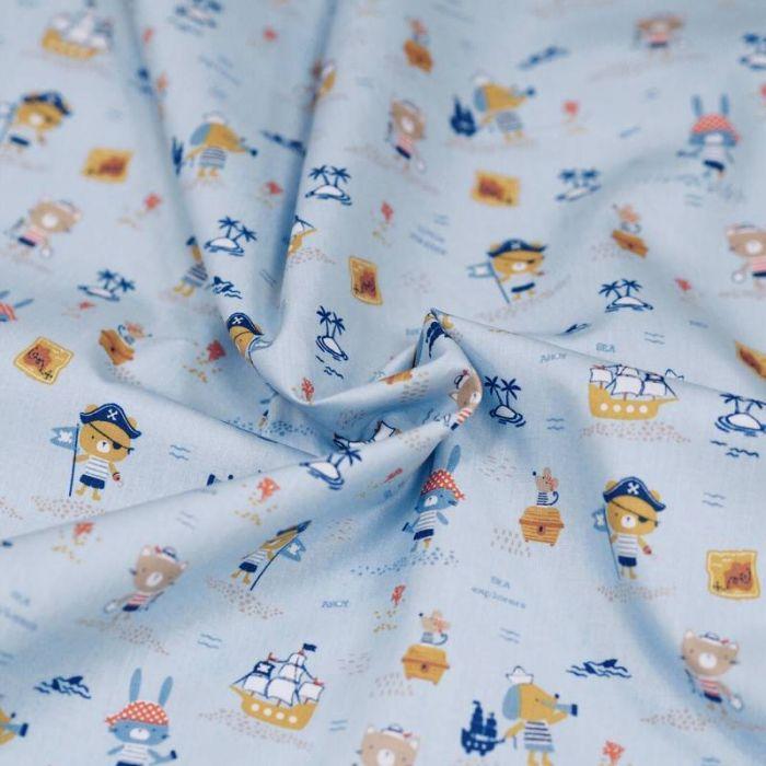 Tissu coton bio marins bleu - Poppy x 10 cm