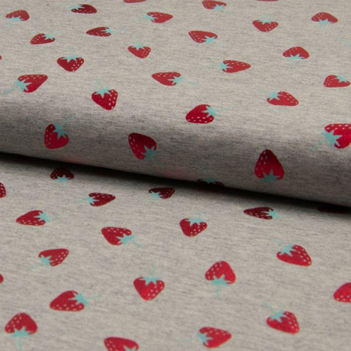 Tissu jersey fraises foil - gris x 10 cm