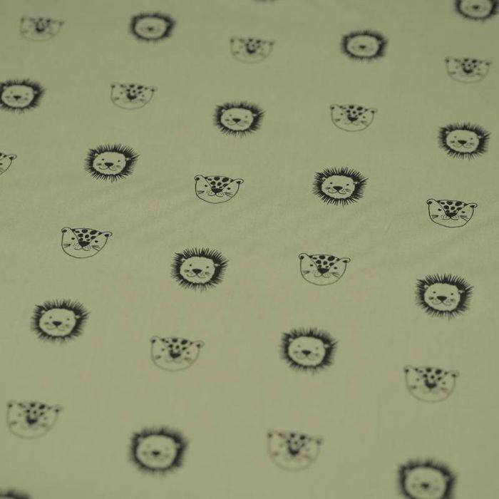 Tissu coton bio lions vert - Poppy  x 10 cm