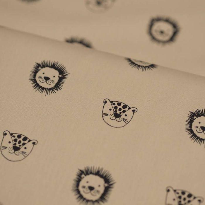 Tissu coton bio lions beige - Poppy  x 10 cm