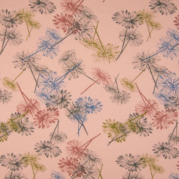 Tissu jersey sweat léger Bio paquerettes - rose x 10 cm