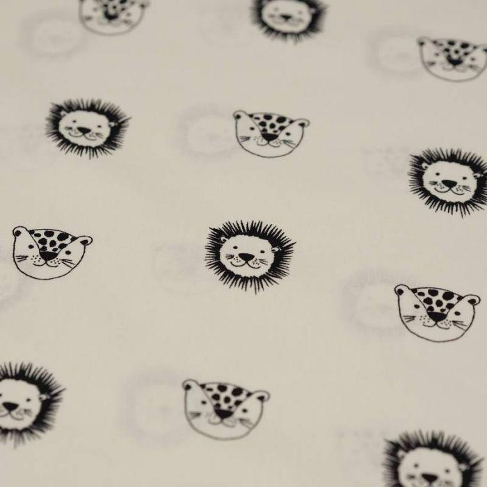 Tissu coton bio lions blanc cassé - Poppy  x 10 cm
