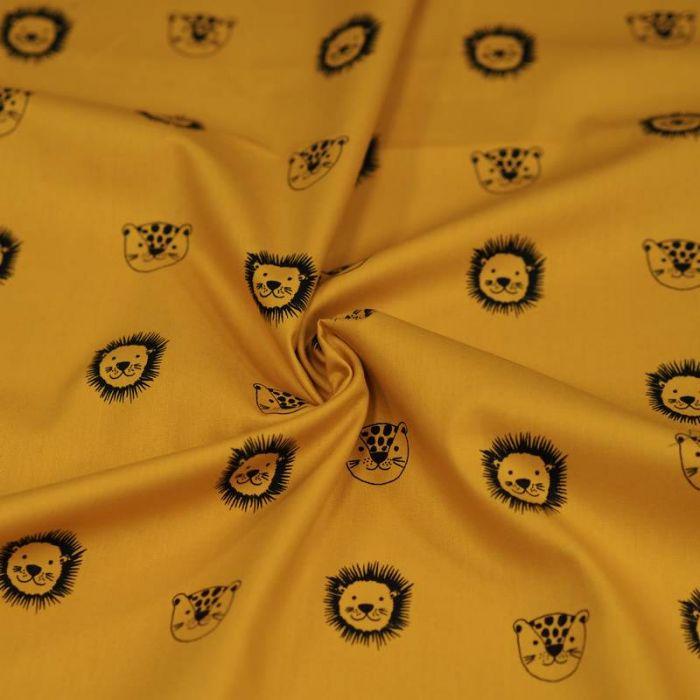 Tissu coton bio lions moutarde - Poppy  x 10 cm