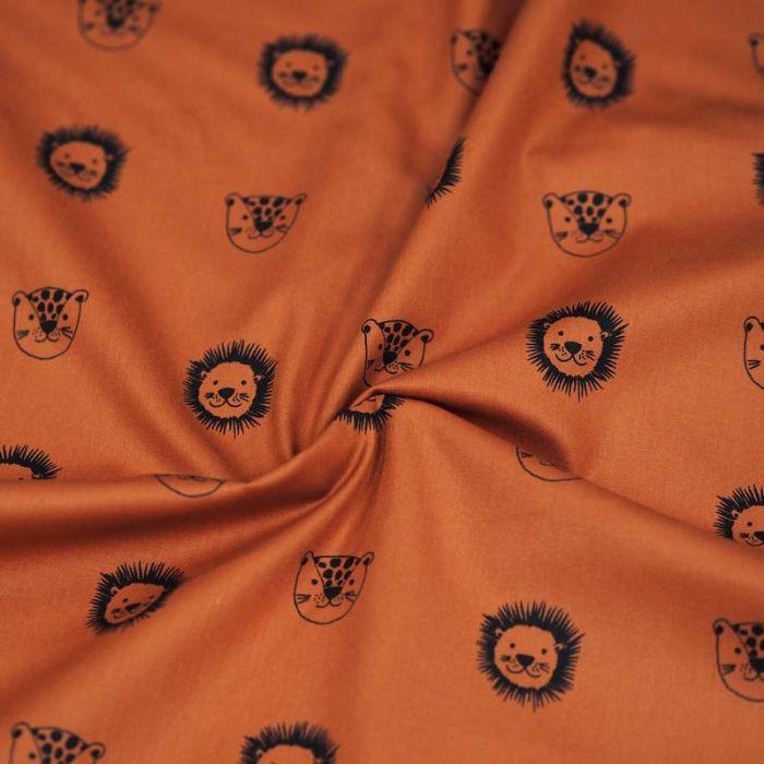 Tissu coton bio lions rouille - Poppy  x 10 cm