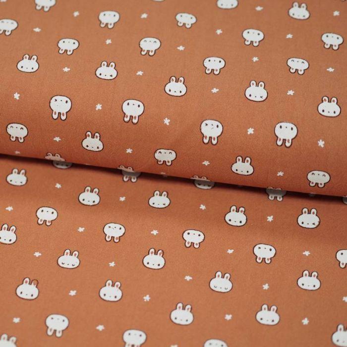 Tissu coton lavé lapins - rouille x 10 cm