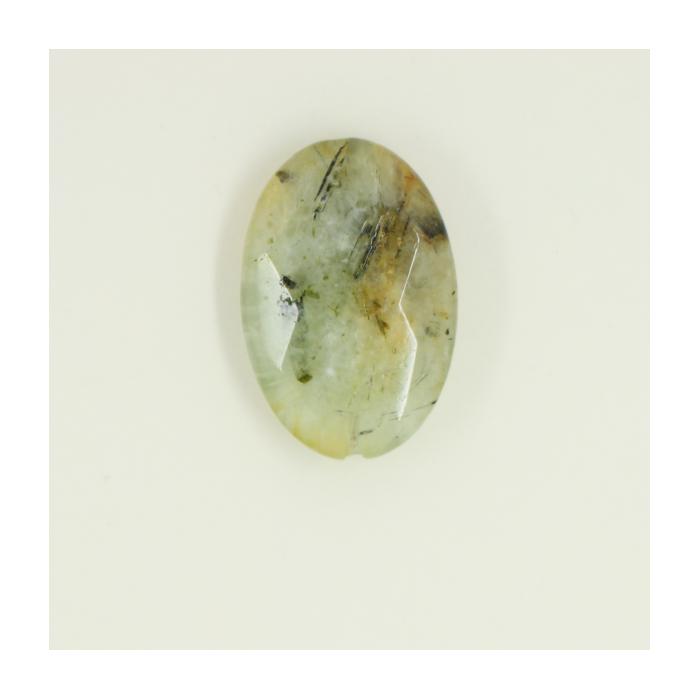 Quartz Mousse : perle pastille ovale facettée 30/20mm vert x1