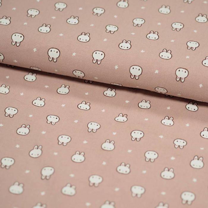 Tissu coton lavé lapins - rose poudre x 10 cm