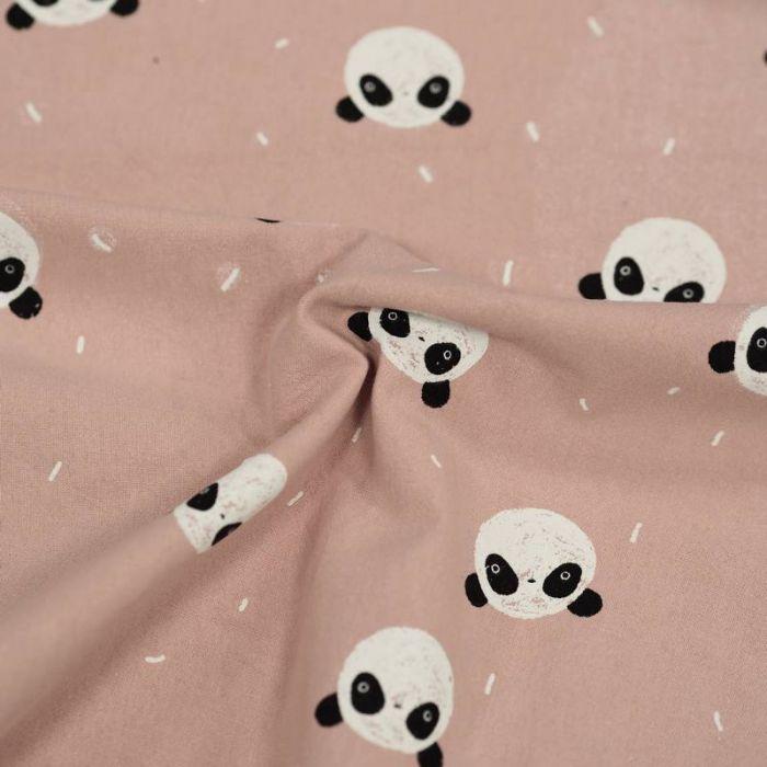 Tissu coton lavé pandas - rose poudre x 10 cm