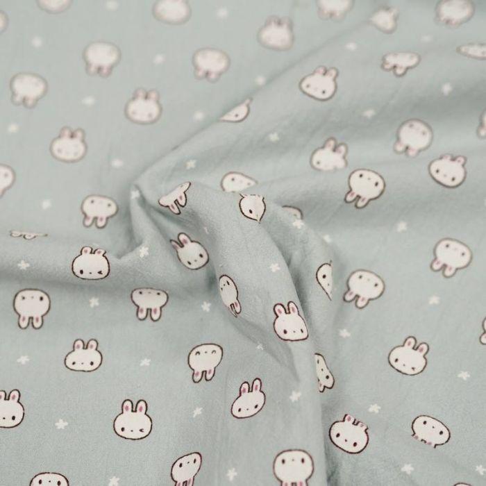 Tissu coton lavé lapins - mint x 10 cm