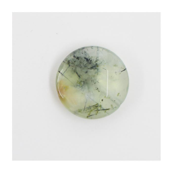 Quartz Mousse : perle pastille ronde à facettes 20mm vert x1