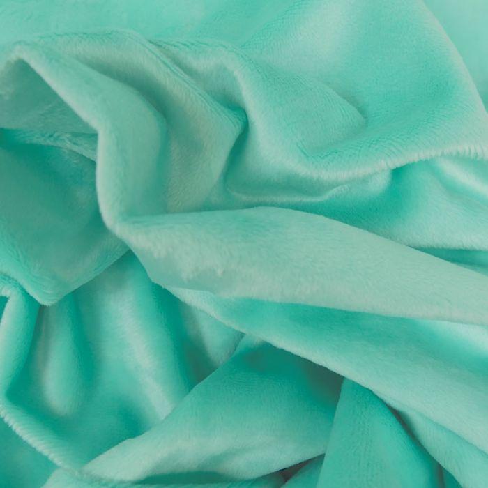 Tissu minky oeko-tex - aqua x 10 cm