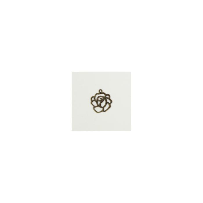 Breloque fleur 14mm bronze x1