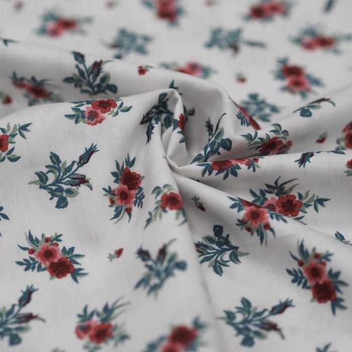 Tissu batiste coton roses rouges - blanc x 10 cm