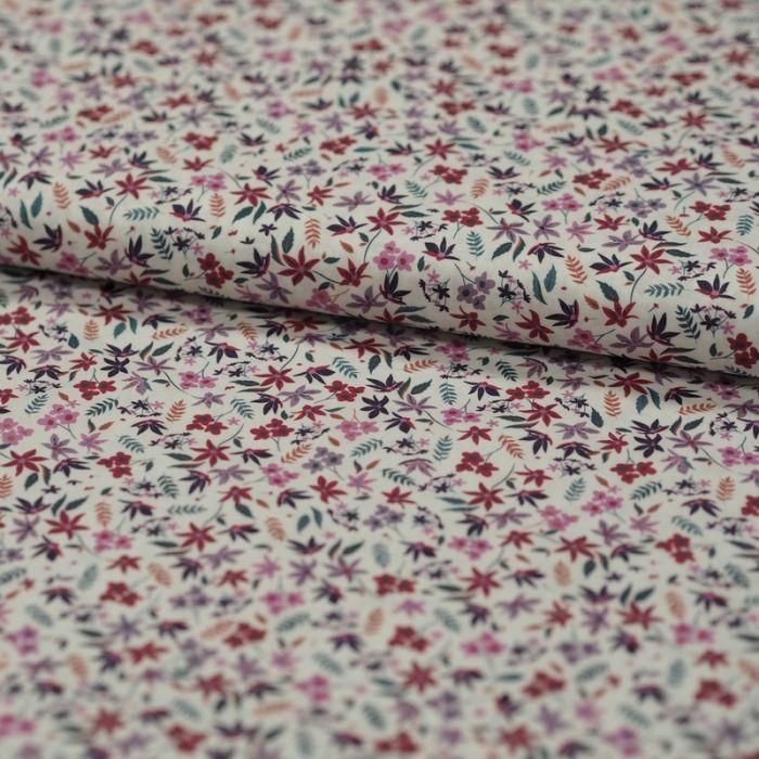 Tissu batiste coton feuilles - rose x 10 cm