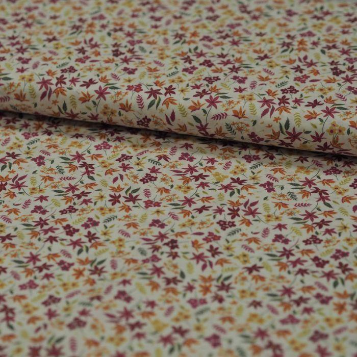 Tissu batiste coton feuilles - violet x 10 cm