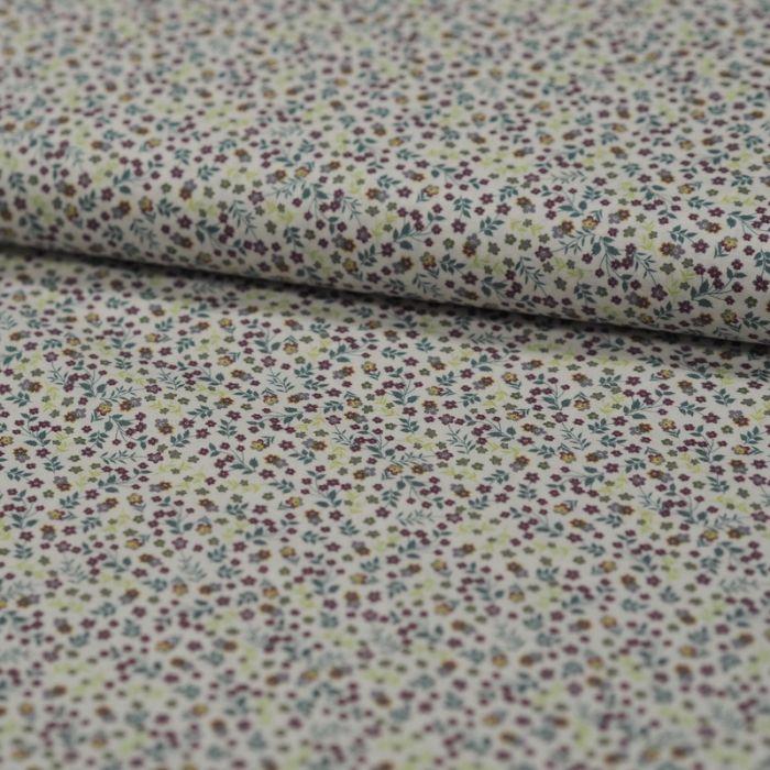 Tissu batiste coton fleurs - vert x 10 cm