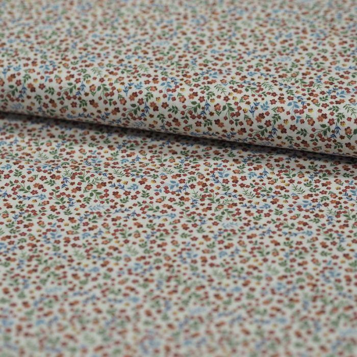 Tissu batiste coton fleurs - terracotta x 10 cm