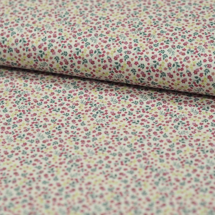 Tissu batiste coton fleurs - framboise x 10 cm