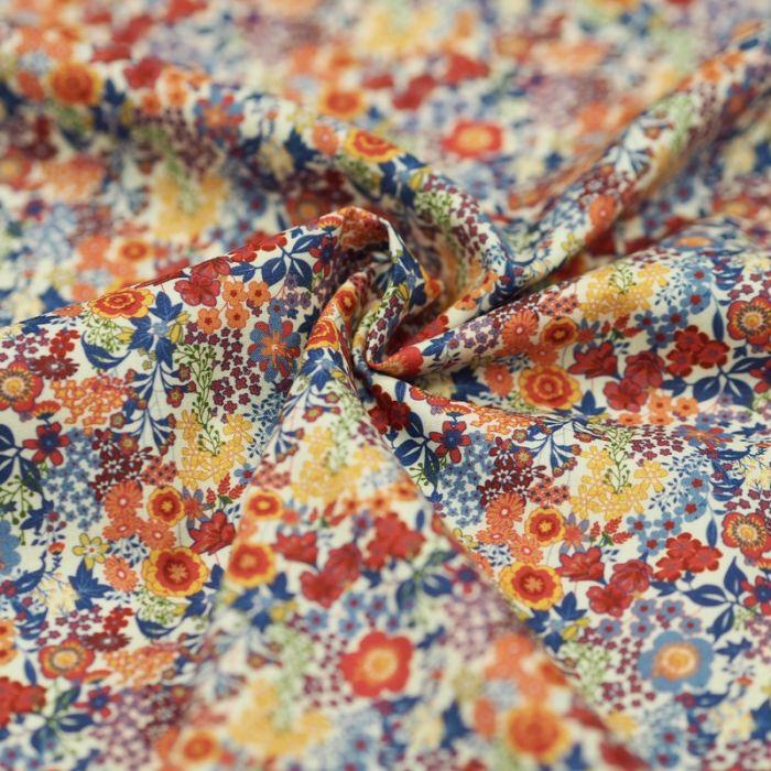 Tissu batiste coton fleurs multicolores - rouge x 10 cm