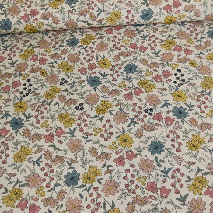 Tissu batiste coton fleurs - rose pale x 10 cm