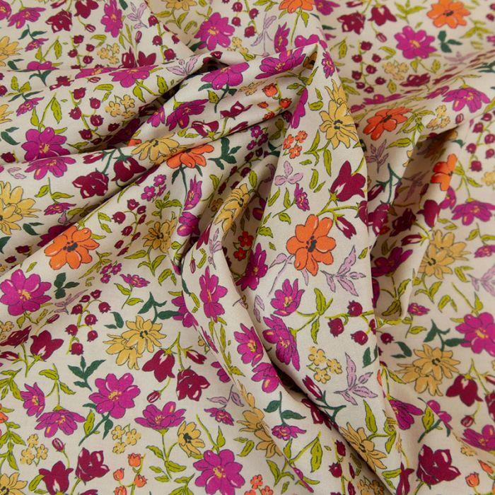 Tissu batiste coton fleurs - rose fuchsia x 10 cm