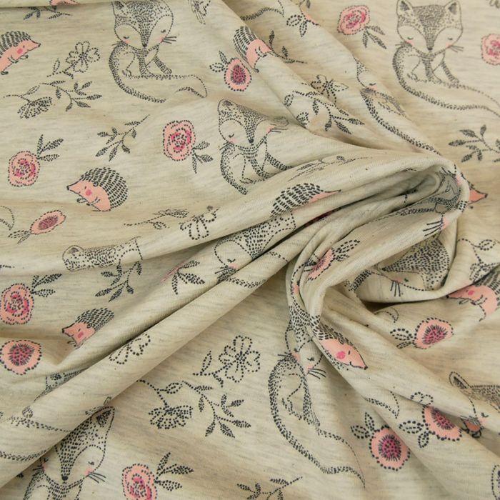 Tissu jersey fin renards - écru chiné x 10 cm
