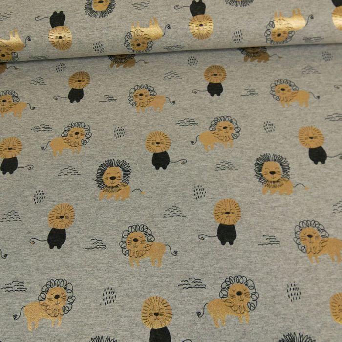 Tissu jersey lions gold - gris x 10 cm