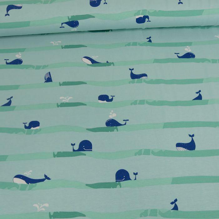 Tissu jersey fin rayures baleines - bleu x 10 cm