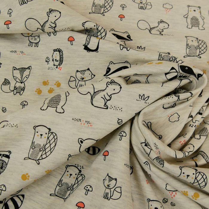 Tissu jersey fin animaux - écru chiné x 10 cm