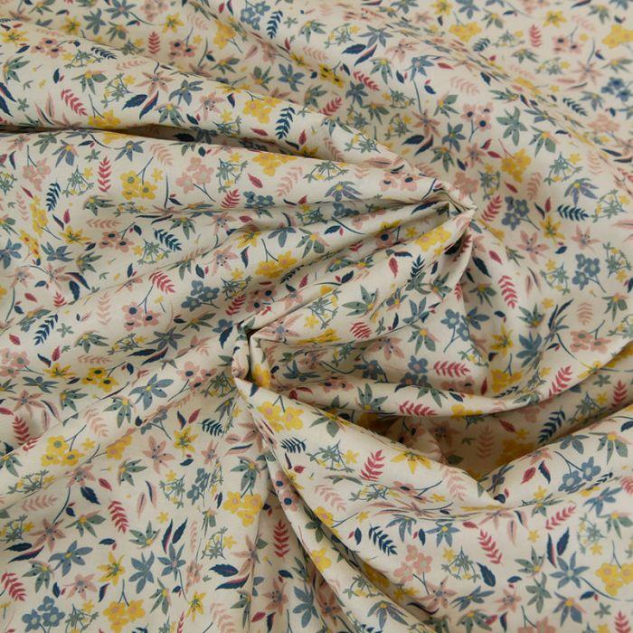Tissu batiste coton feuilles - pastel x 10 cm