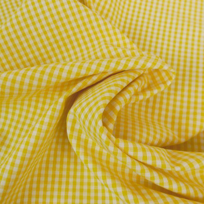 Tissu seersucker coton vichy - jaune x 10 cm
