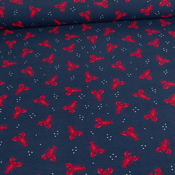Tissu jersey fin homards rouges - marine x 10 cm
